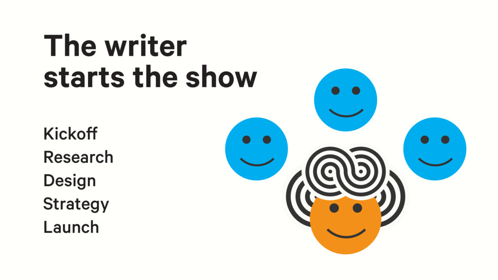 The writer starts the show Kickoff Research Des...
