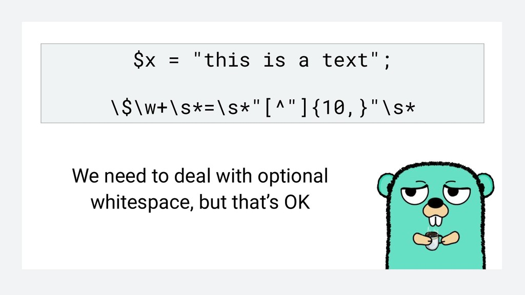"""$x = """"this is a text""""; \$\w+\s*=\s*""""[^""""]{10,}""""\..."""