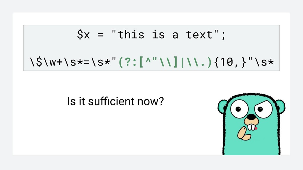 """$x = """"this is a text""""; \$\w+\s*=\s*""""(?:[^""""\\]