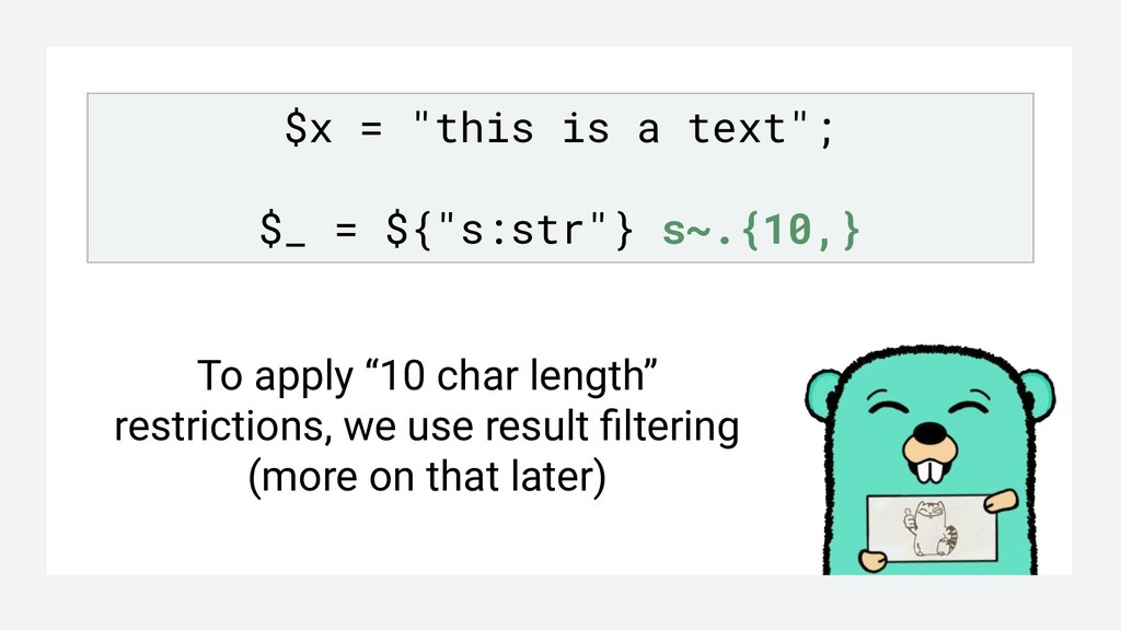 """$x = """"this is a text""""; $_ = ${""""s:str""""} s~.{10,}..."""