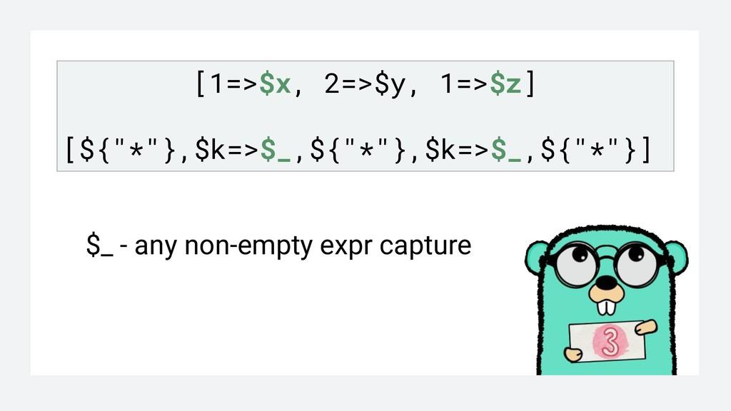 """[1=>$x, 2=>$y, 1=>$z] [${""""*""""},$k=>$_,${""""*""""},$k=..."""