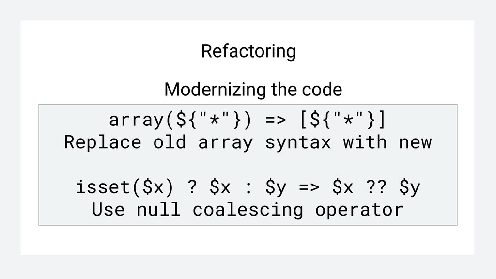 """Refactoring array(${""""*""""}) => [${""""*""""}] Replace o..."""