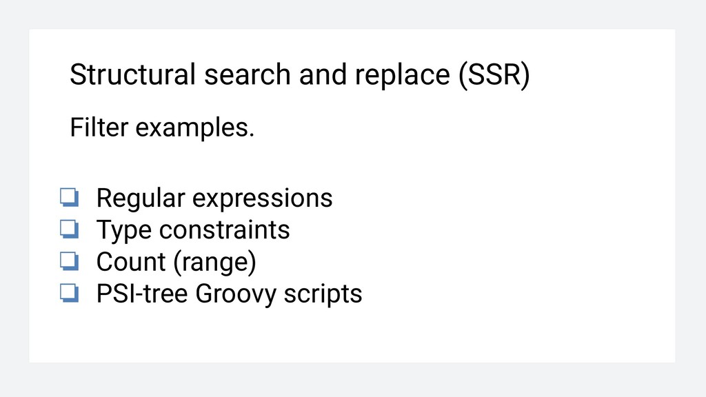 Structural search and replace (SSR) Filter exam...
