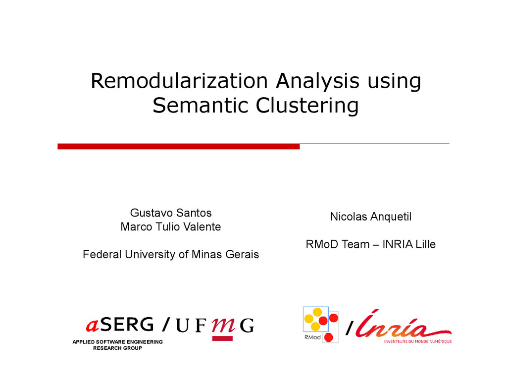 Remodularization Analysis using Semantic Cluste...