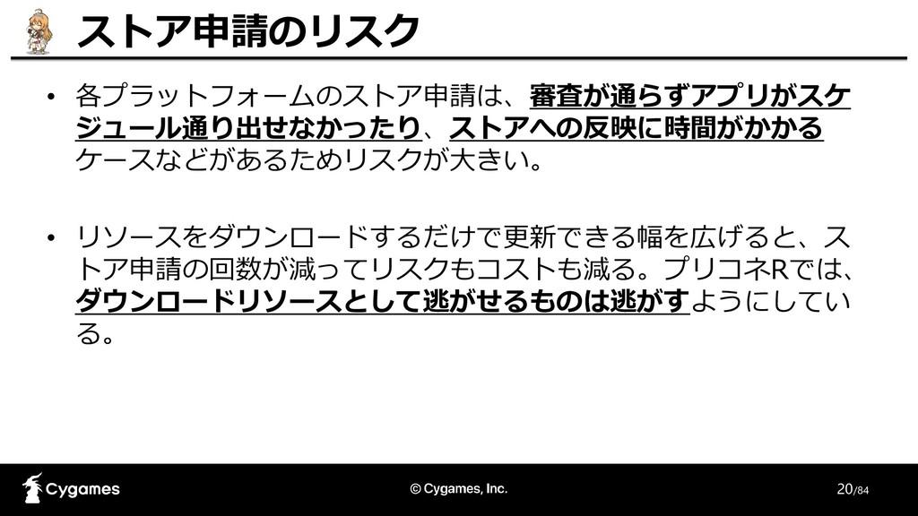 20/84 • 各プラットフォームのストア申請は、審査が通らずアプリがスケ ジュール通り出せな...