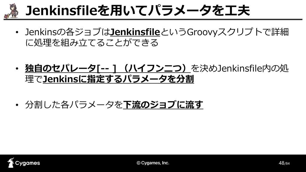 48/84 • Jenkinsの各ジョブはJenkinsfileというGroovyスクリプトで...