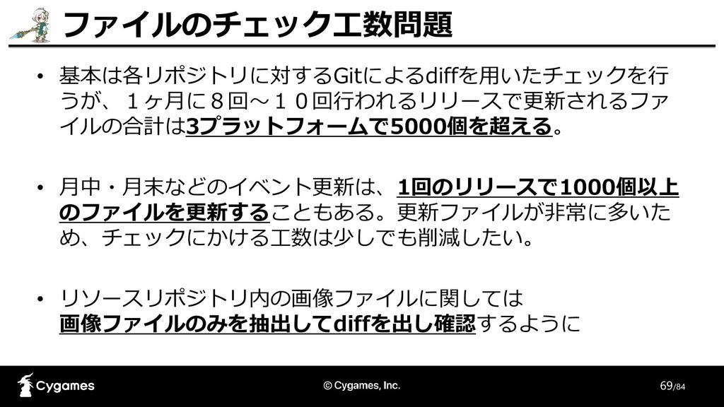 69/84 • 基本は各リポジトリに対するGitによるdiffを用いたチェックを行 うが、1ヶ...