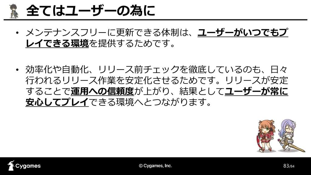 83/84 • メンテナンスフリーに更新できる体制は、ユーザーがいつでもプ レイできる環境を提...