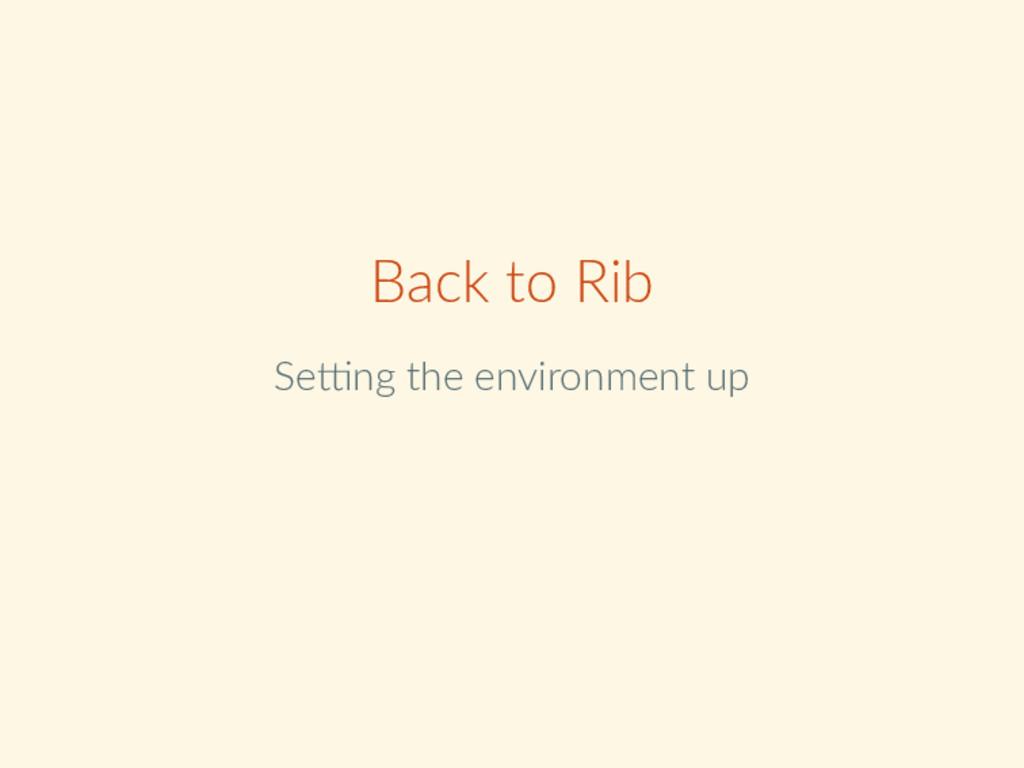 Back to Rib Se ng the environment up