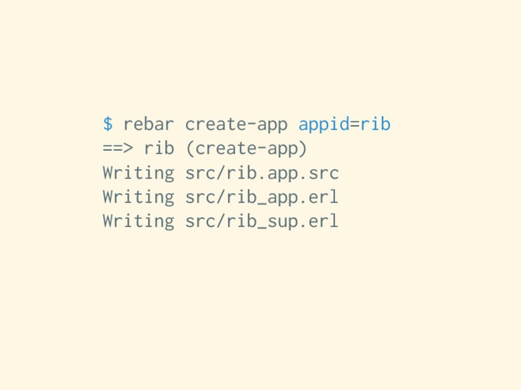 $ rebar create-app appid=rib ==> rib (create-ap...