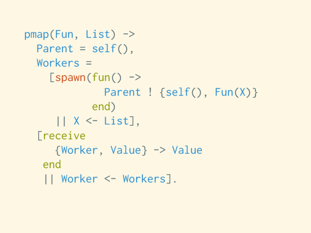 pmap(Fun, List) -> Parent = self(), Workers = [...