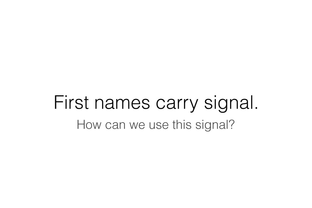 First names carry signal. How can we use this s...