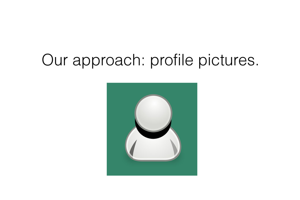 Our approach: profile pictures.