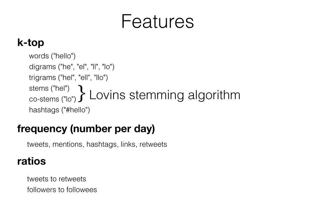 """Features k-top words (""""hello"""") digrams (""""he"""", """"..."""