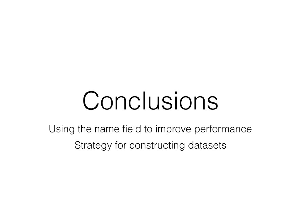 Conclusions Using the name field to improve per...