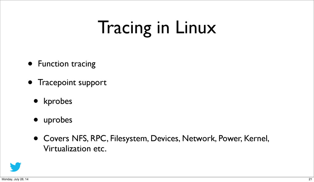 Tracing in Linux • Function tracing • Tracepoin...