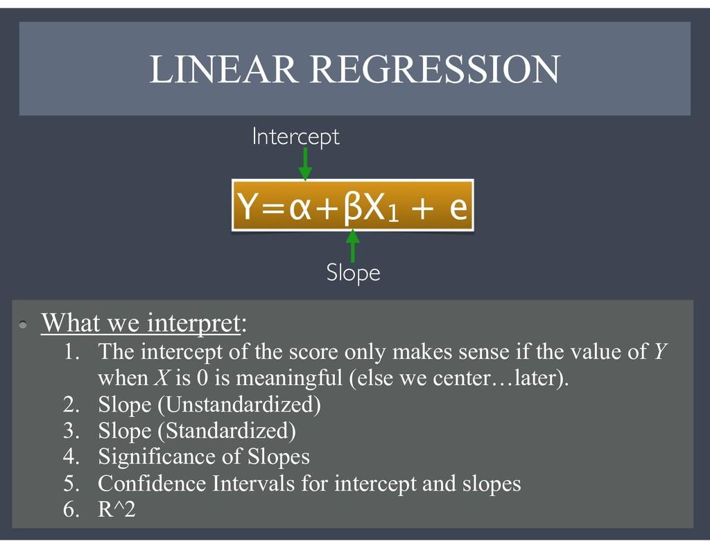 LINEAR REGRESSION 11 Y=α+βX1 + e Intercept Slop...