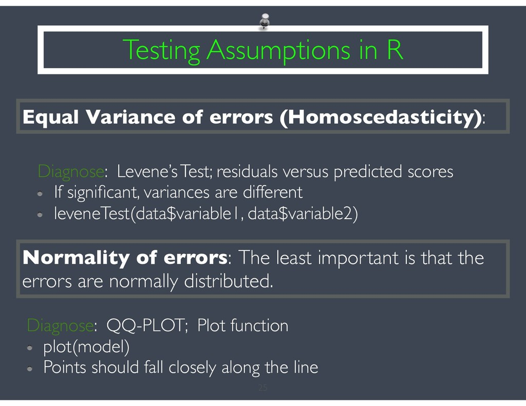 25 Testing Assumptions in R Equal Variance of e...