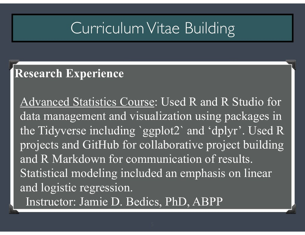 5 Curriculum Vitae Building Research Experience...