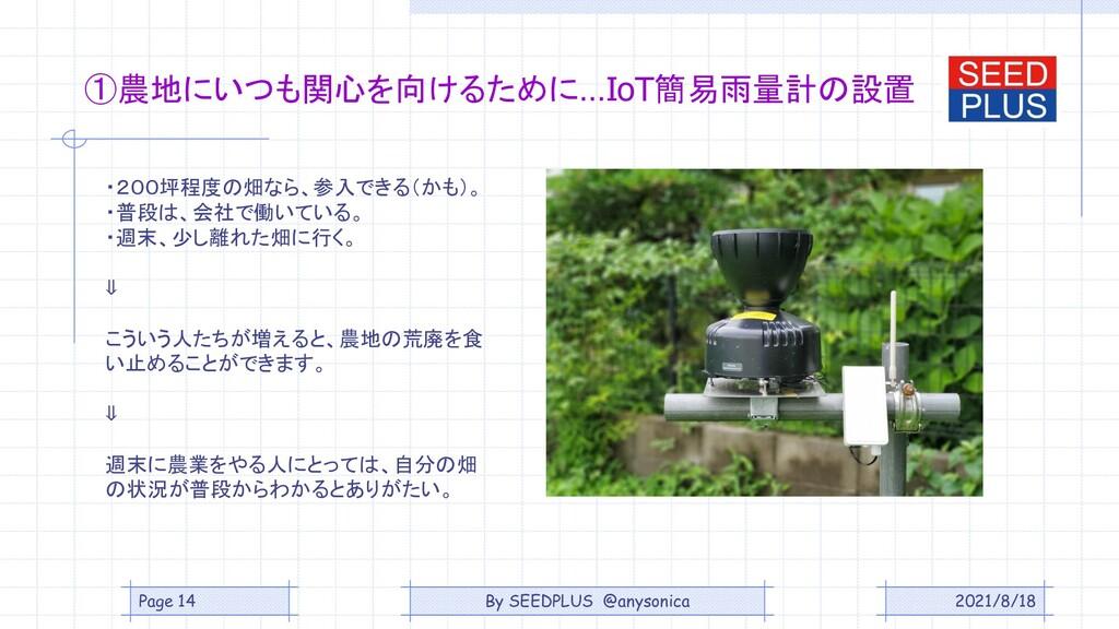 2021/8/18 ①農地にいつも関心を向けるために…IoT簡易雨量計の設置 ・200坪程度の...