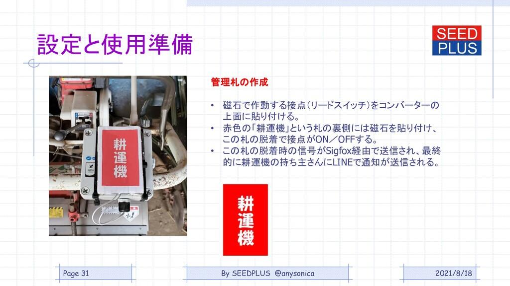 2021/8/18 設定と使用準備 管理札の作成 • 磁石で作動する接点(リードスイッチ)をコ...
