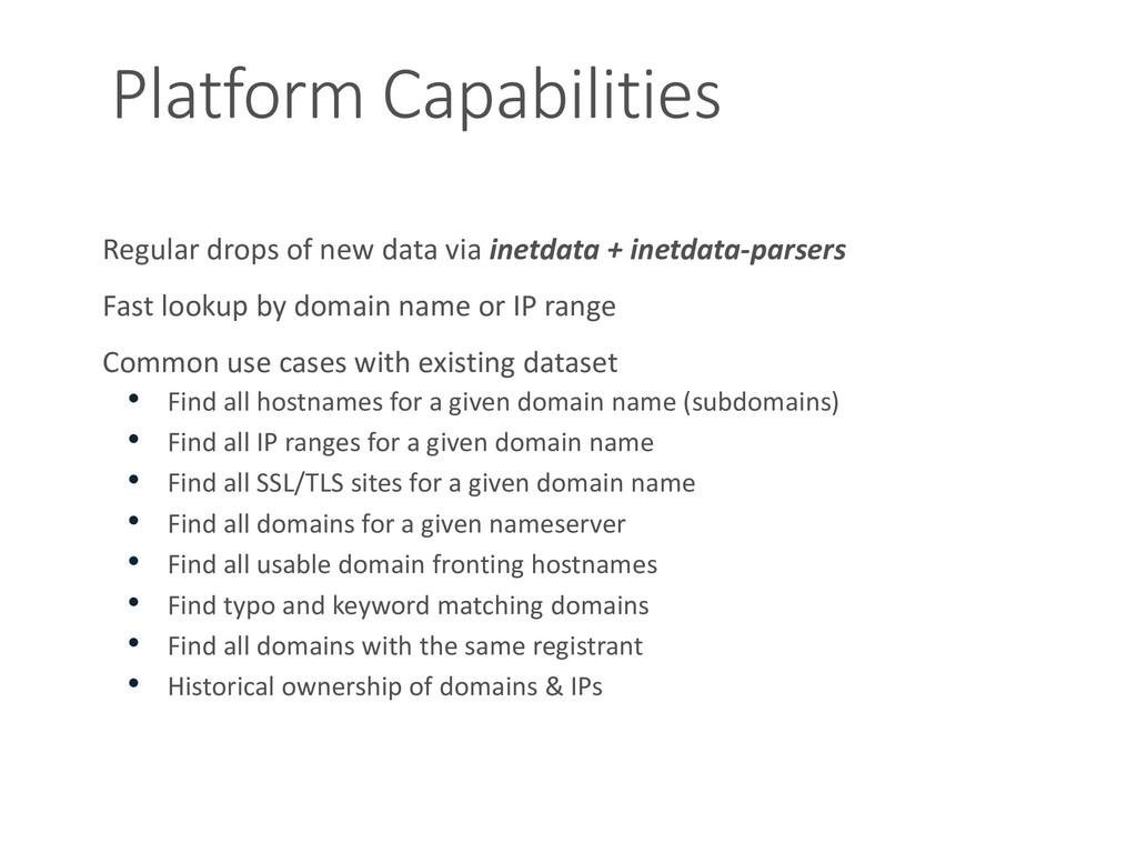 Platform Capabilities Regular drops of new data...