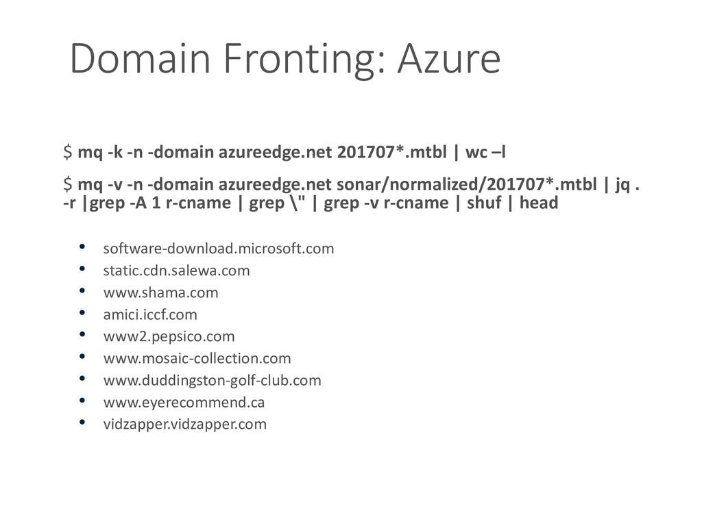 Domain Fronting: Azure $ mq -k -n -domain azure...