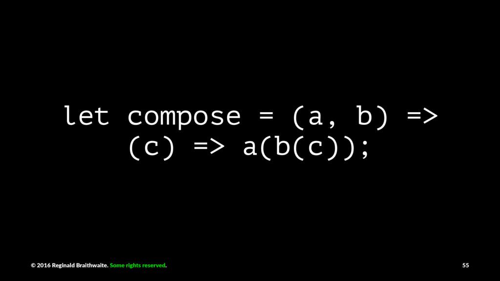 let compose = (a, b) => (c) => a(b(c)); © 2016 ...