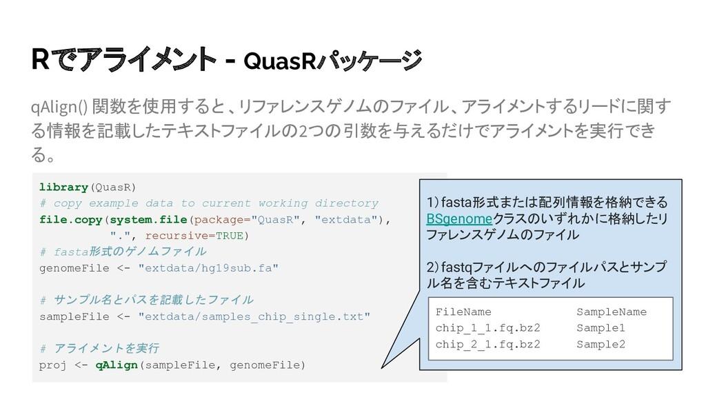 Rでアライメント - QuasRパッケージ qAlign() 関数を使用すると、リファレンスゲ...