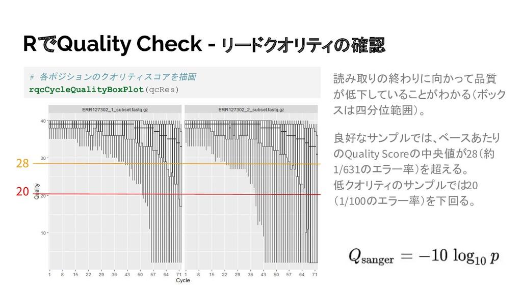 RでQuality Check - リードクオリティの確認 読み取りの終わりに向かって品質 が...