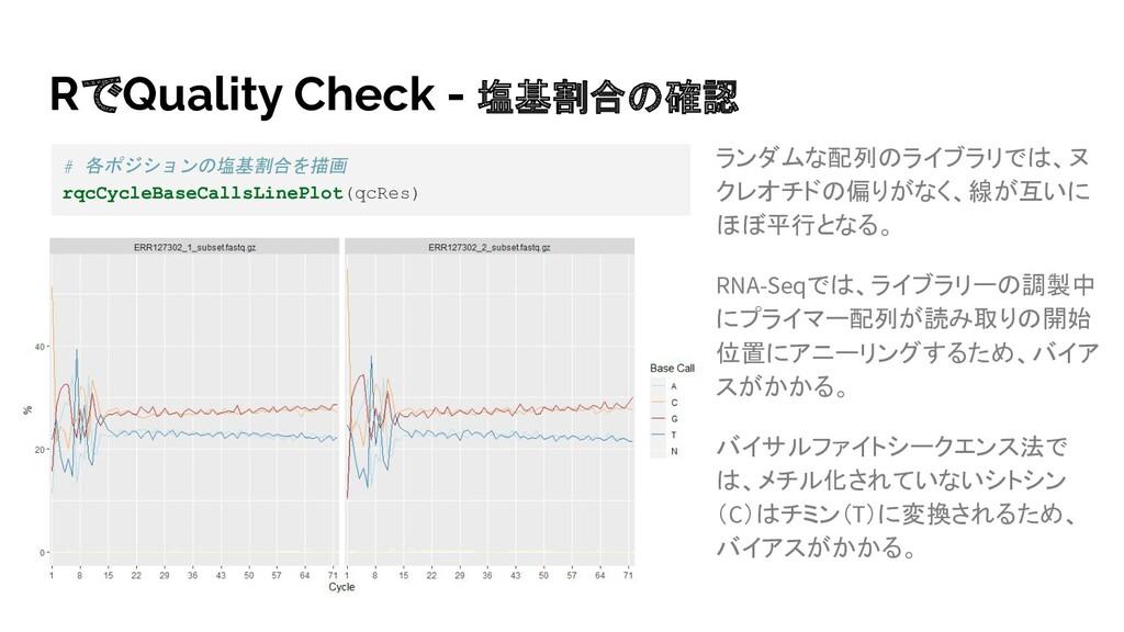 RでQuality Check - 塩基割合の確認 ランダムな配列のライブラリでは、ヌ クレオ...