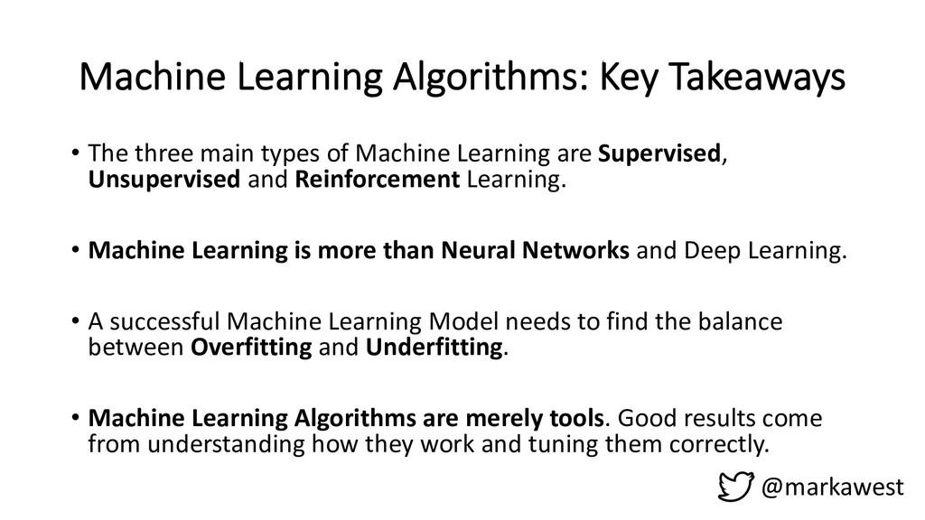 Machine Learning Algorithms: Key Takeaways @mar...