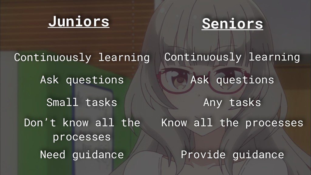 Juniors Seniors Continuously learning Small tas...