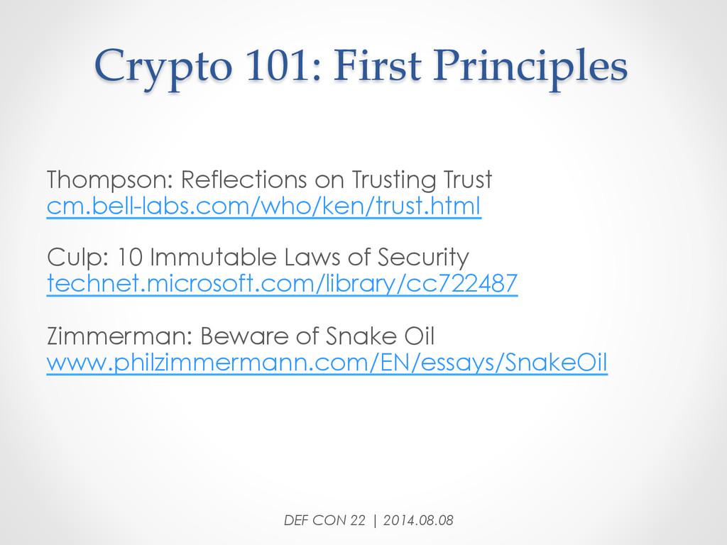 Crypto 101: First Principles Thompson: Ref...