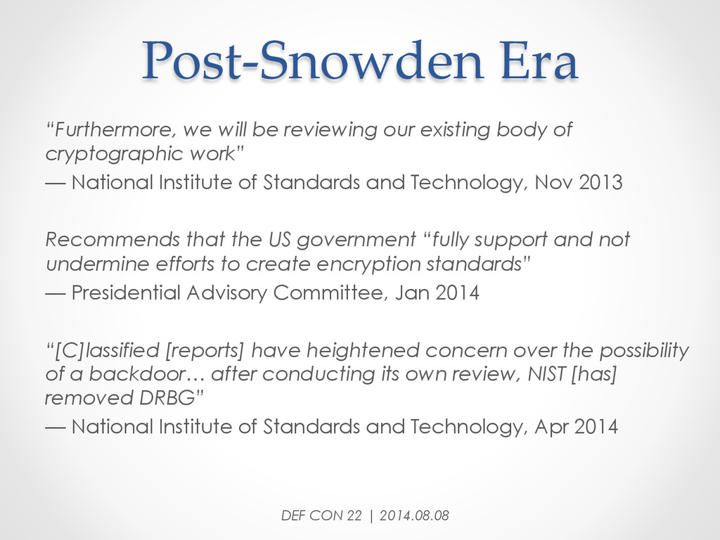 """Post-‐‑Snowden Era """"Furthermore, we will be..."""