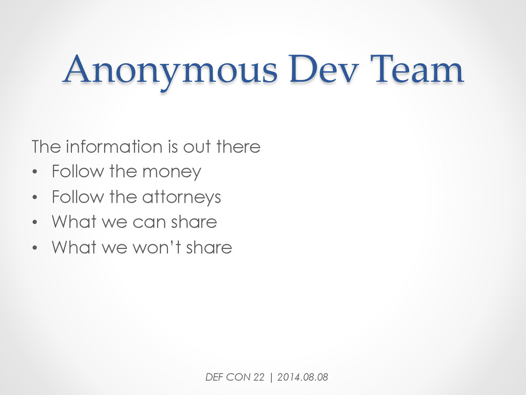 Anonymous Dev Team The information is out t...