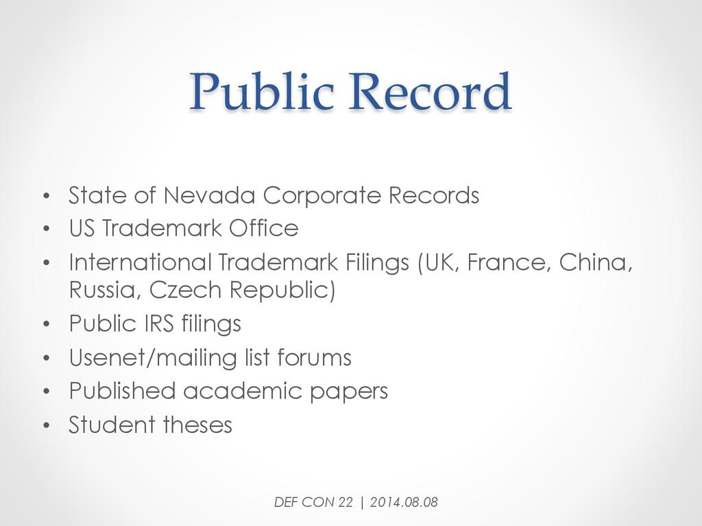 Public Record • State of Nevada Corporate R...