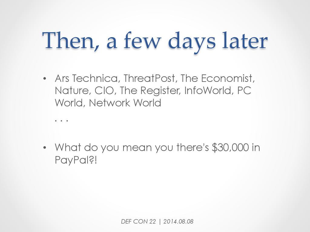 Then, a few days later • Ars Technica, T...