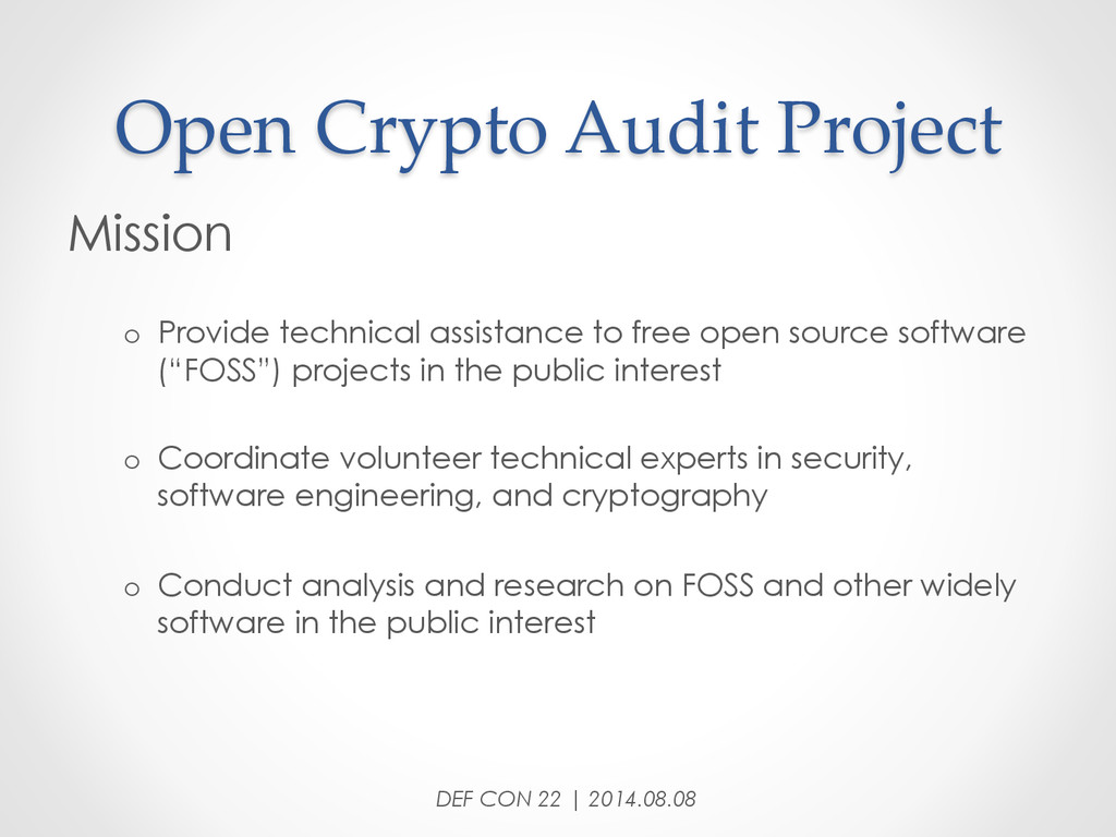 Open Crypto Audit Project Mission o Provi...