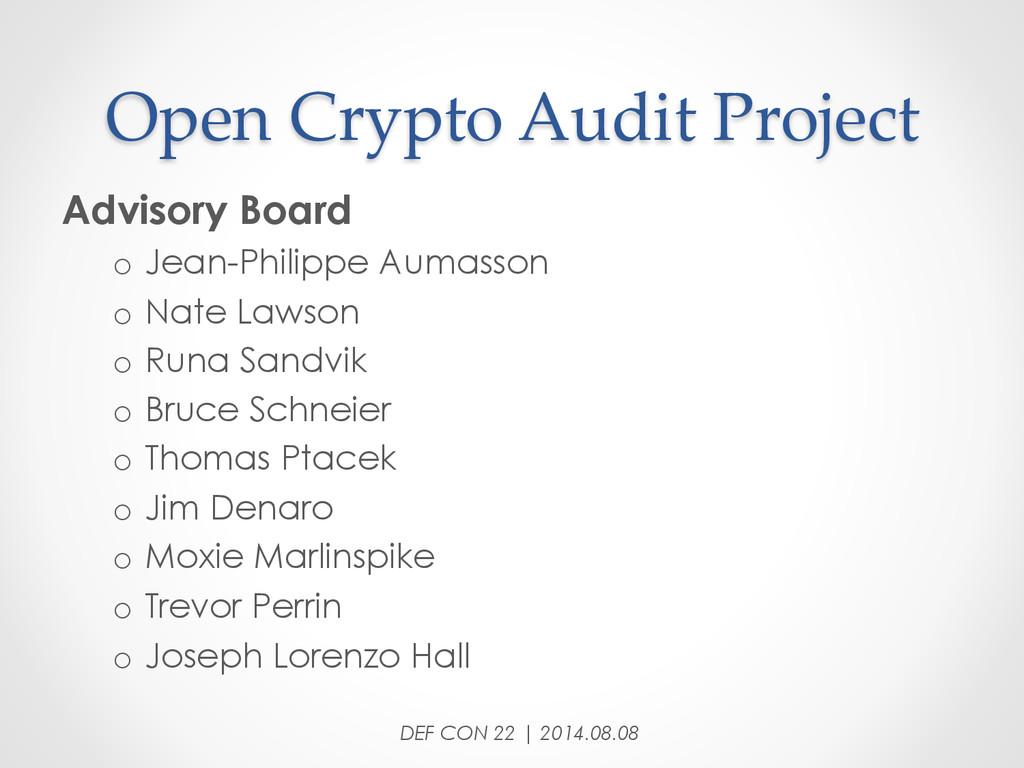 Open Crypto Audit Project Advisory Board o...