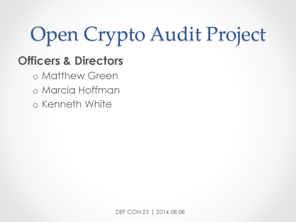 Open Crypto Audit Project Officers & Direc...