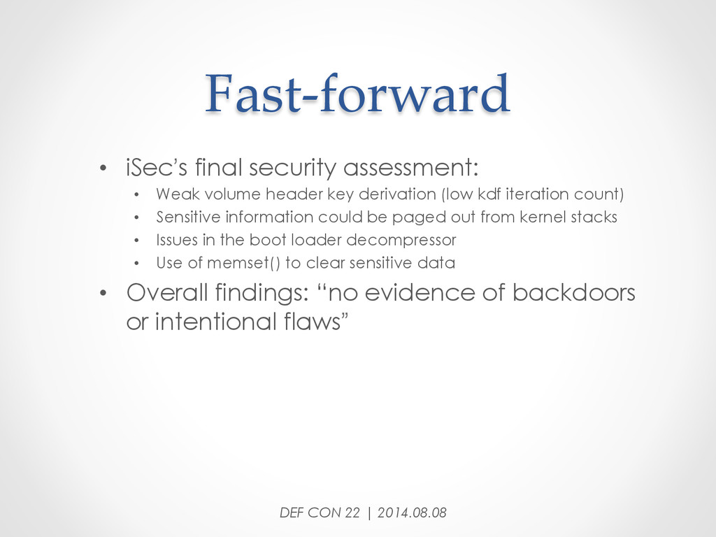 Fast-‐‑forward • iSec's final security asse...