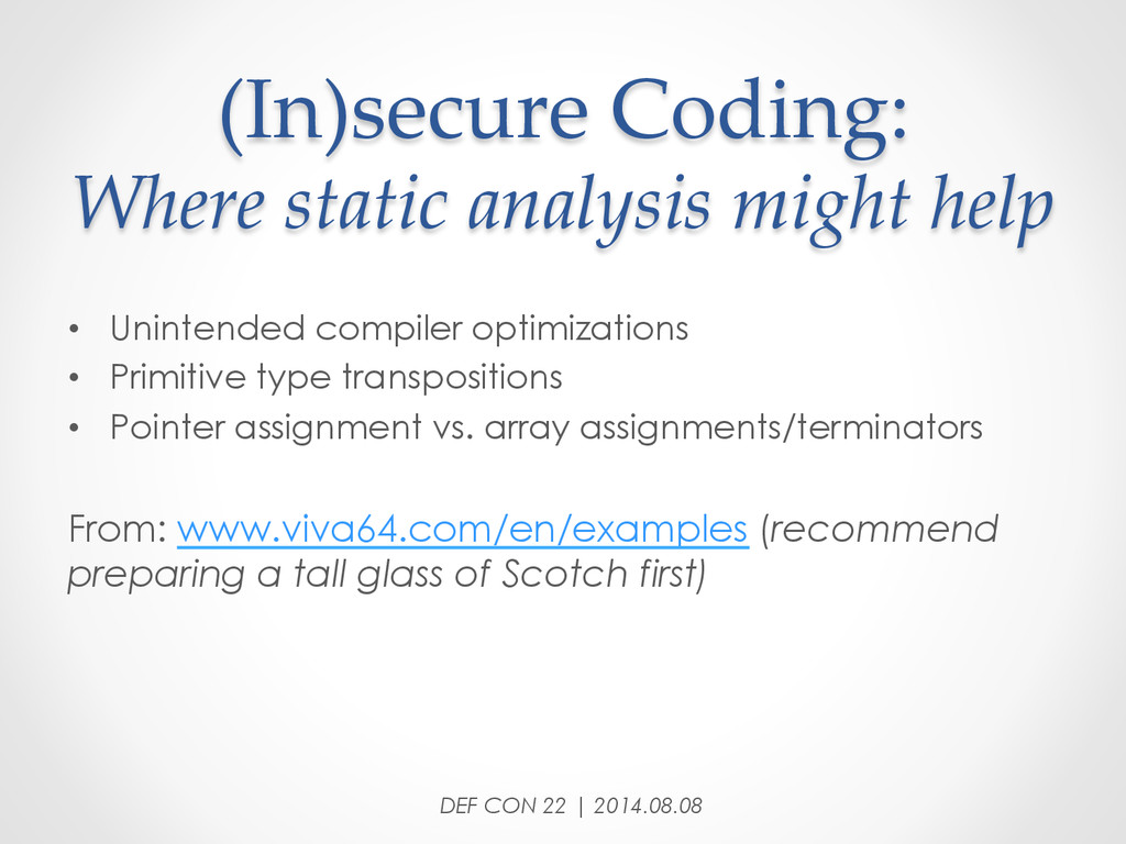 (In)secure Coding:  Where static analysis ...