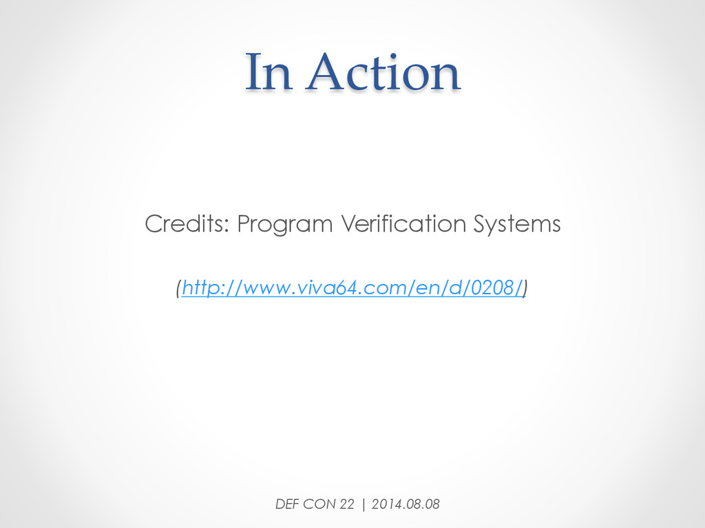 In Action Credits: Program Verification Syst...