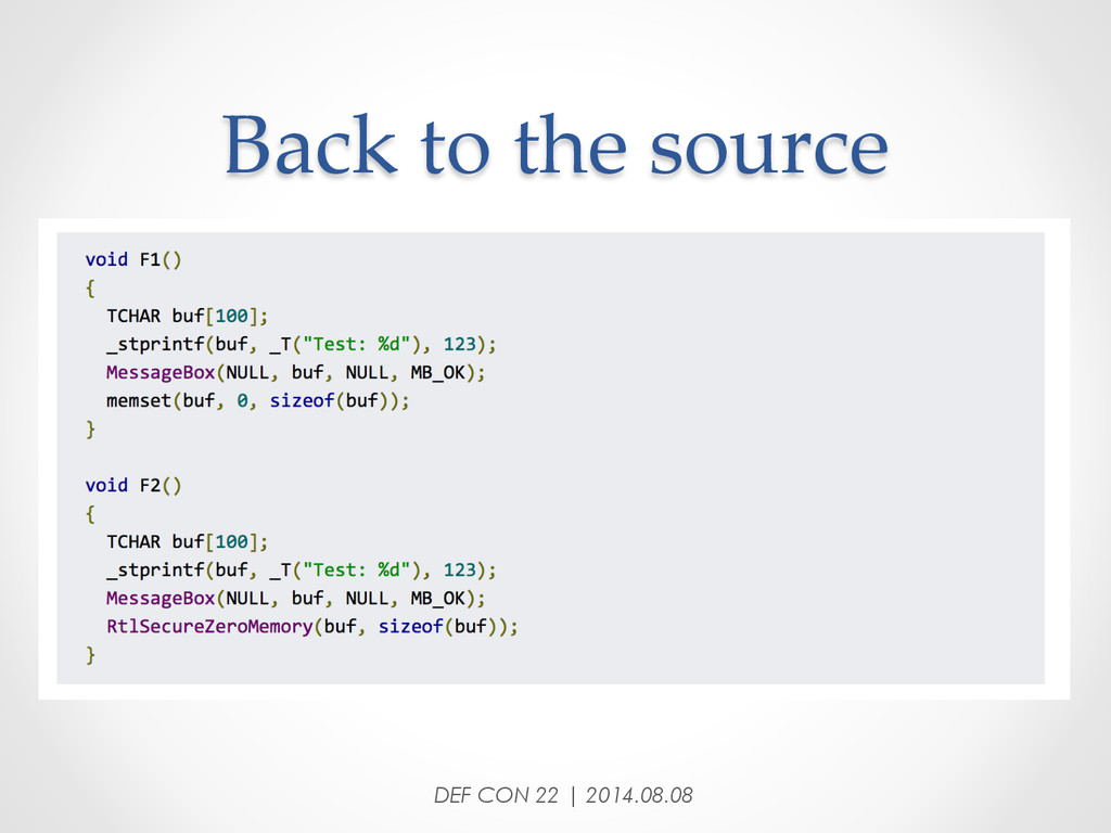 Back to the source DEF CON 22 | 2014.08.08