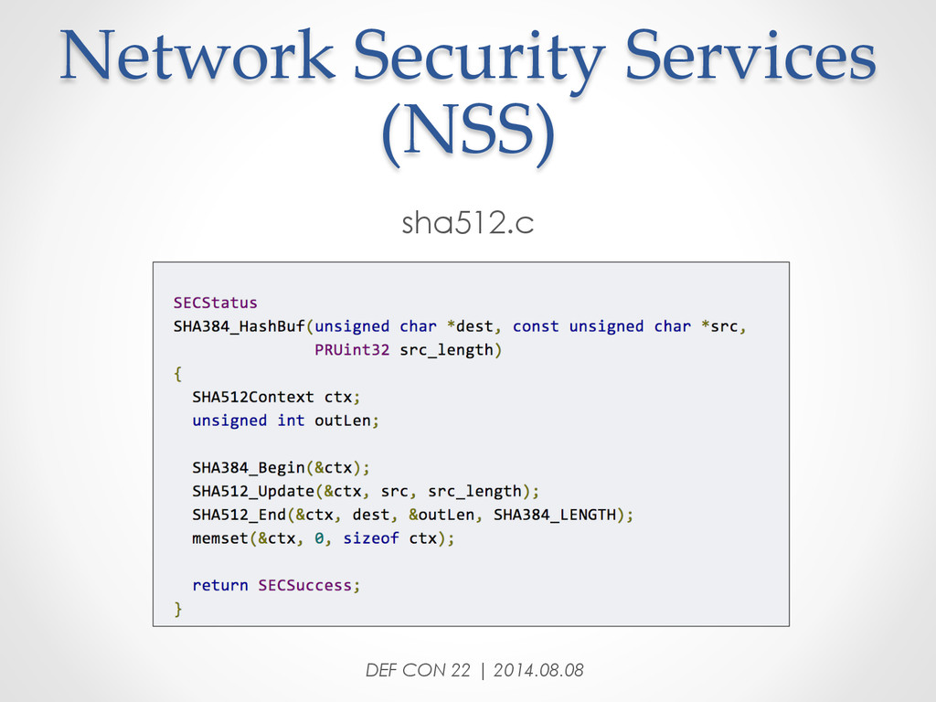 Network Security Services  (NSS) sha512.c ...