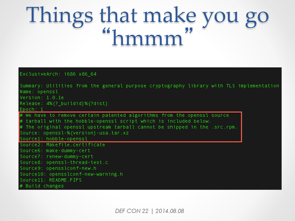 """Things that make you go  """"hmmm"""" DEF CON ..."""