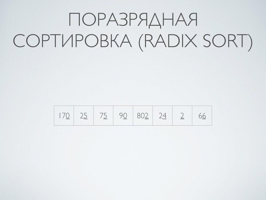 ПОРАЗРЯДНАЯ СОРТИРОВКА (RADIX SORT) 170 25 75 9...