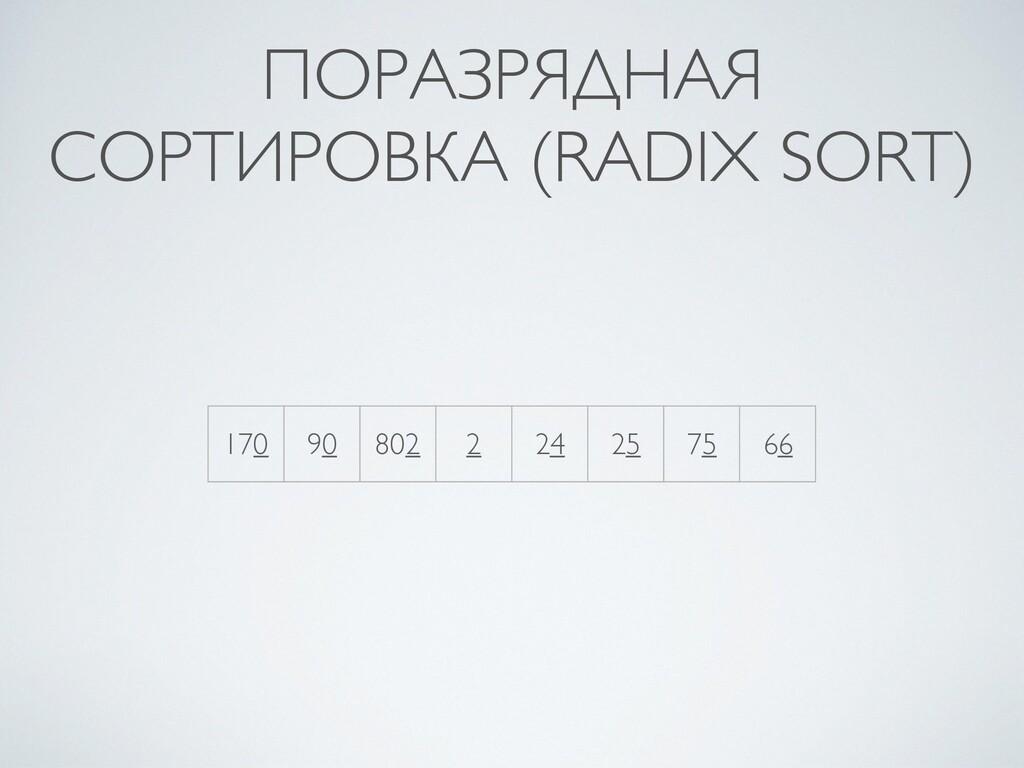 ПОРАЗРЯДНАЯ СОРТИРОВКА (RADIX SORT) 170 90 802 ...