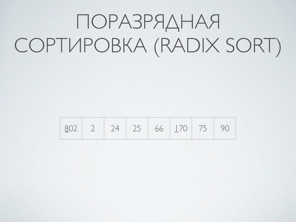 ПОРАЗРЯДНАЯ СОРТИРОВКА (RADIX SORT) 802 2 24 25...
